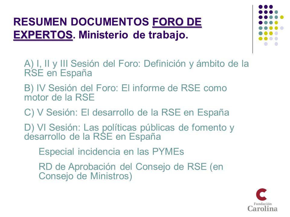 RESUMEN DOCUMENTOS FORO DE EXPERTOS. Ministerio de trabajo.