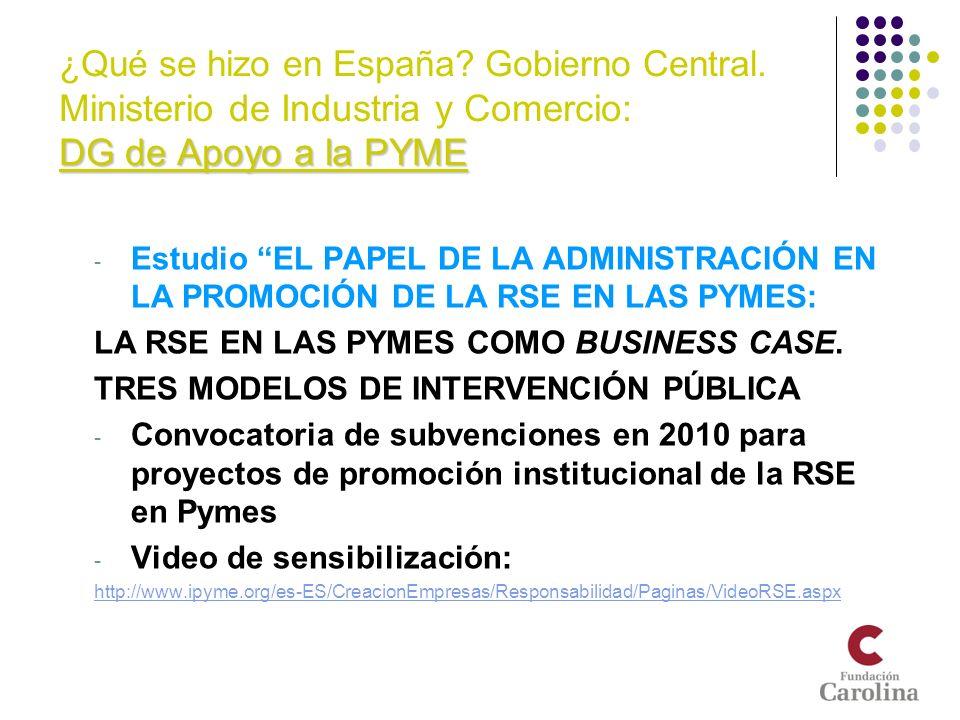¿Qué se hizo en España. Gobierno Central