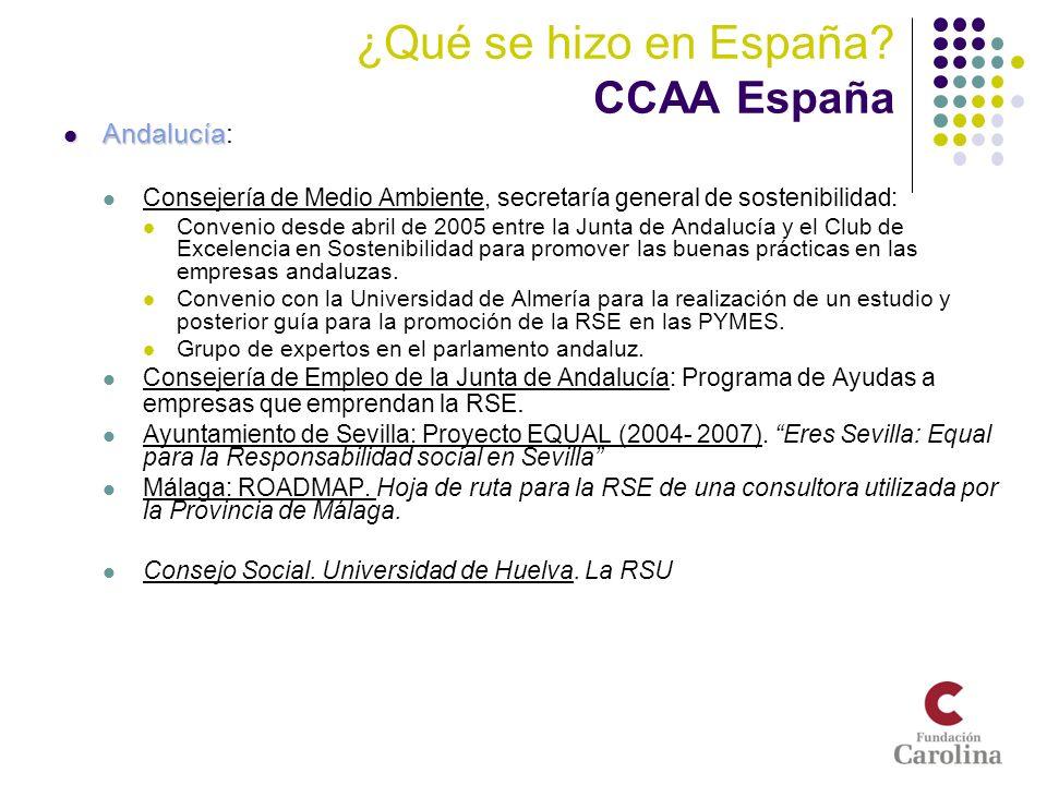 ¿Qué se hizo en España CCAA España