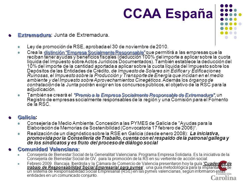 CCAA España Extremadura: Junta de Extremadura. Galicia: