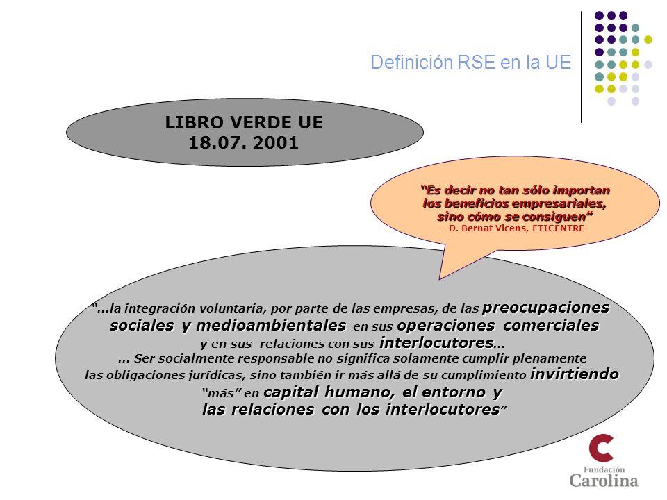 Definición RSE en la UE LIBRO VERDE UE 18.07. 2001