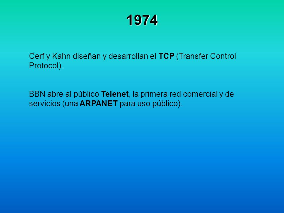 1974 Cerf y Kahn diseñan y desarrollan el TCP (Transfer Control Protocol).