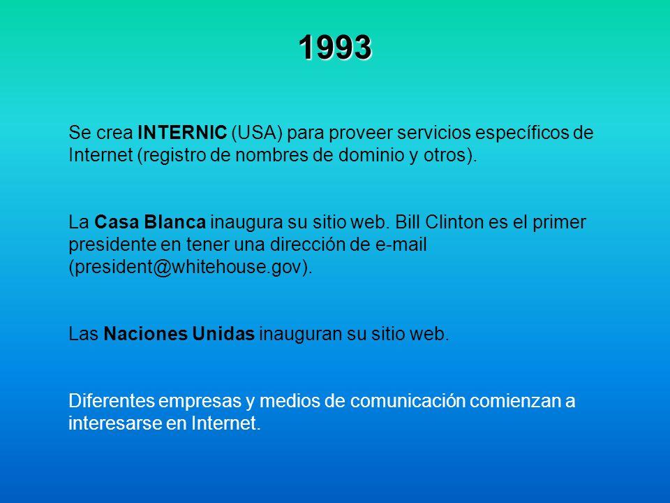 1993 Se crea INTERNIC (USA) para proveer servicios específicos de Internet (registro de nombres de dominio y otros).
