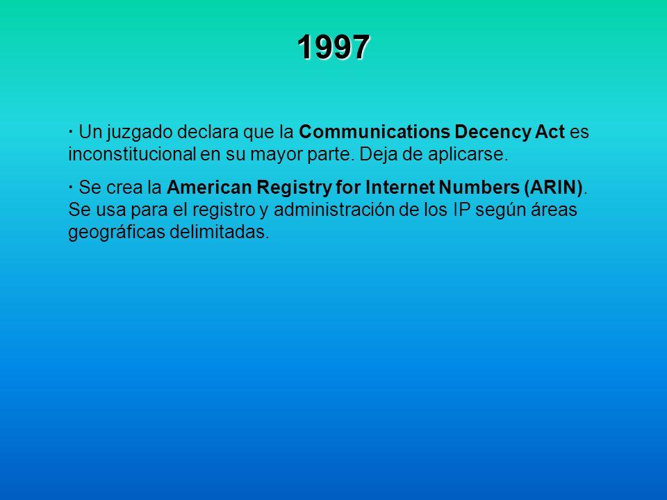 1997 · Un juzgado declara que la Communications Decency Act es inconstitucional en su mayor parte. Deja de aplicarse.