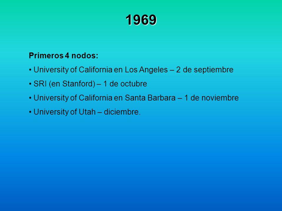 1969 Primeros 4 nodos: University of California en Los Angeles – 2 de septiembre. SRI (en Stanford) – 1 de octubre.
