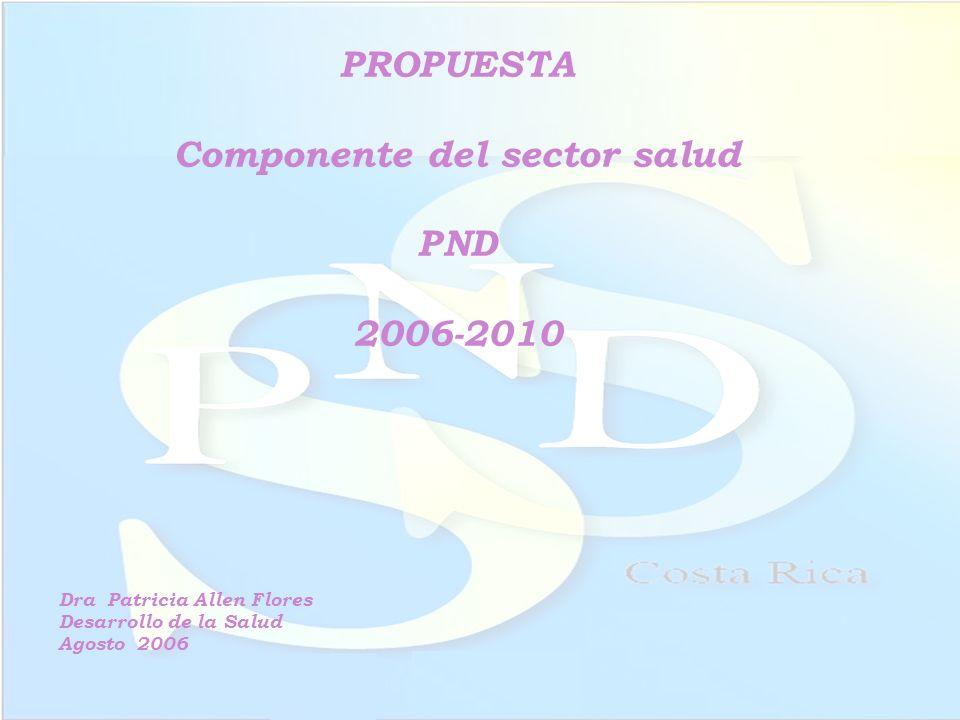 PROPUESTA Componente del sector salud PND 2006-2010