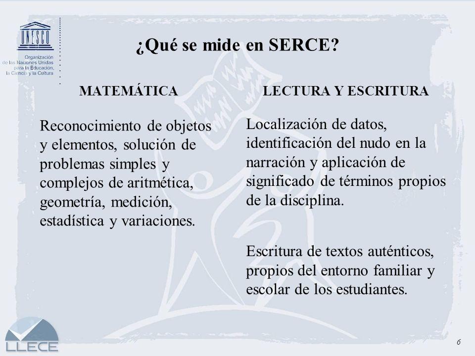 ¿Qué se mide en SERCE MATEMÁTICA. LECTURA Y ESCRITURA.