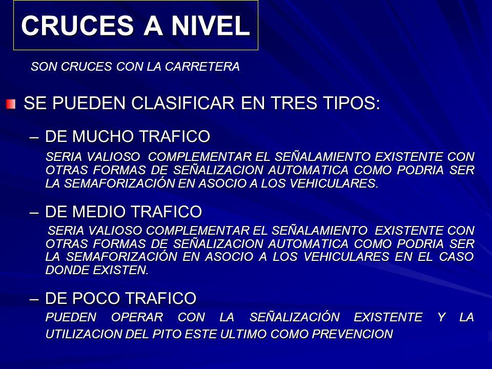 CRUCES A NIVEL SE PUEDEN CLASIFICAR EN TRES TIPOS: DE MUCHO TRAFICO
