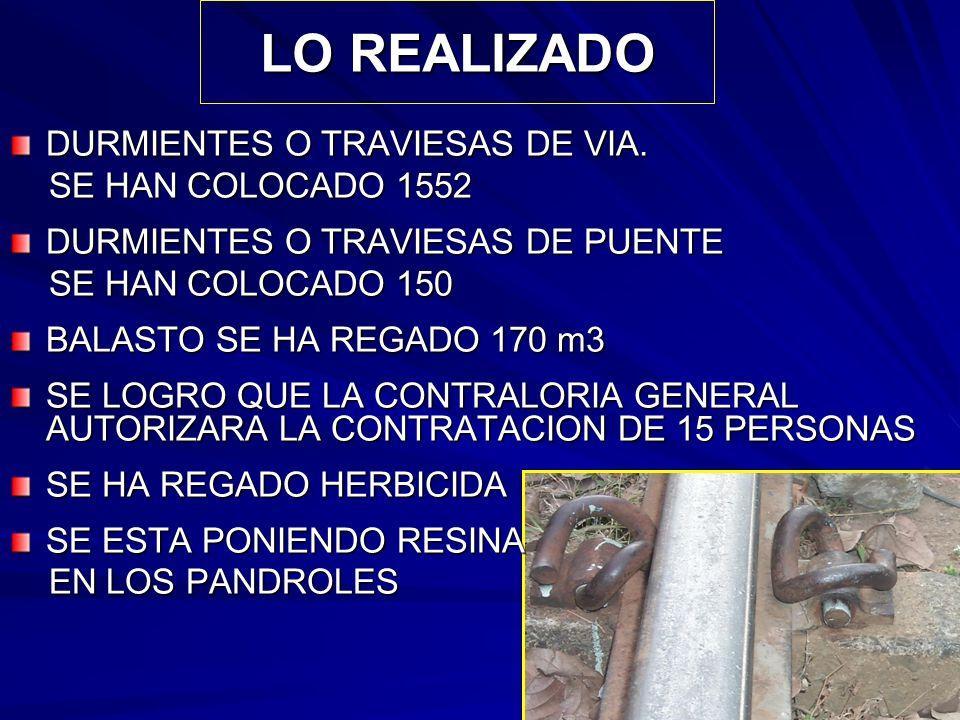 LO REALIZADO DURMIENTES O TRAVIESAS DE VIA. SE HAN COLOCADO 1552