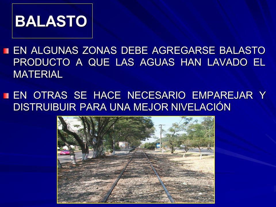 BALASTO EN ALGUNAS ZONAS DEBE AGREGARSE BALASTO PRODUCTO A QUE LAS AGUAS HAN LAVADO EL MATERIAL.