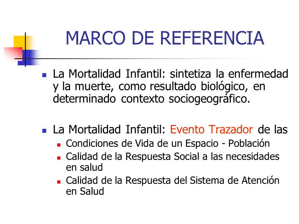 MARCO DE REFERENCIA La Mortalidad Infantil: sintetiza la enfermedad y la muerte, como resultado biológico, en determinado contexto sociogeográfico.