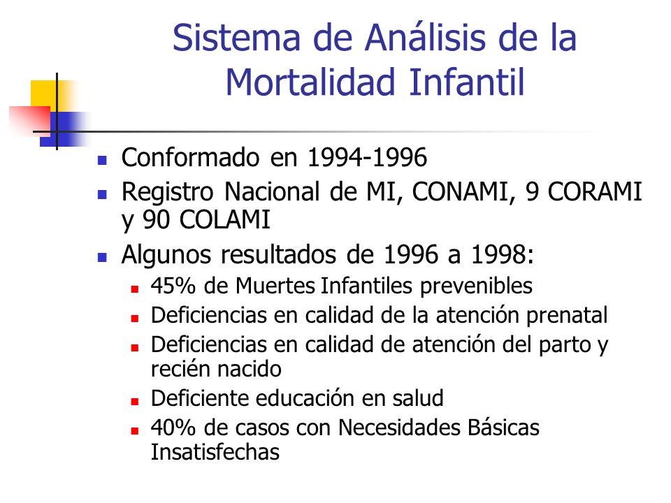 Sistema de Análisis de la Mortalidad Infantil
