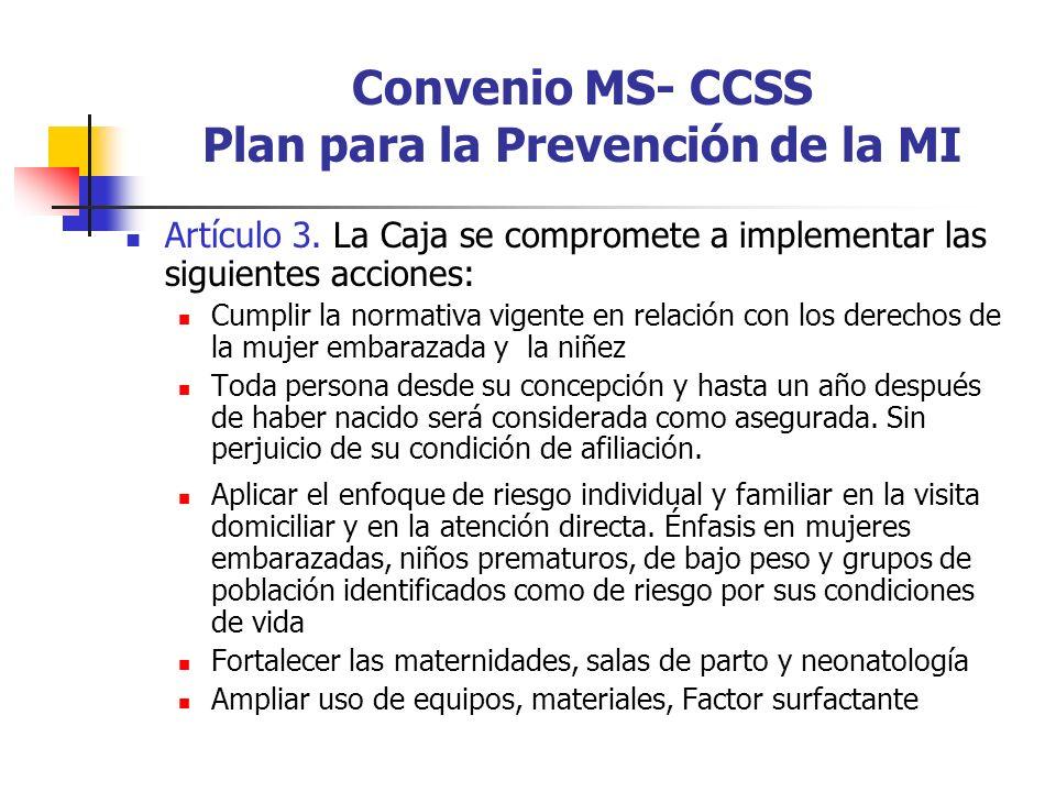 Convenio MS- CCSS Plan para la Prevención de la MI
