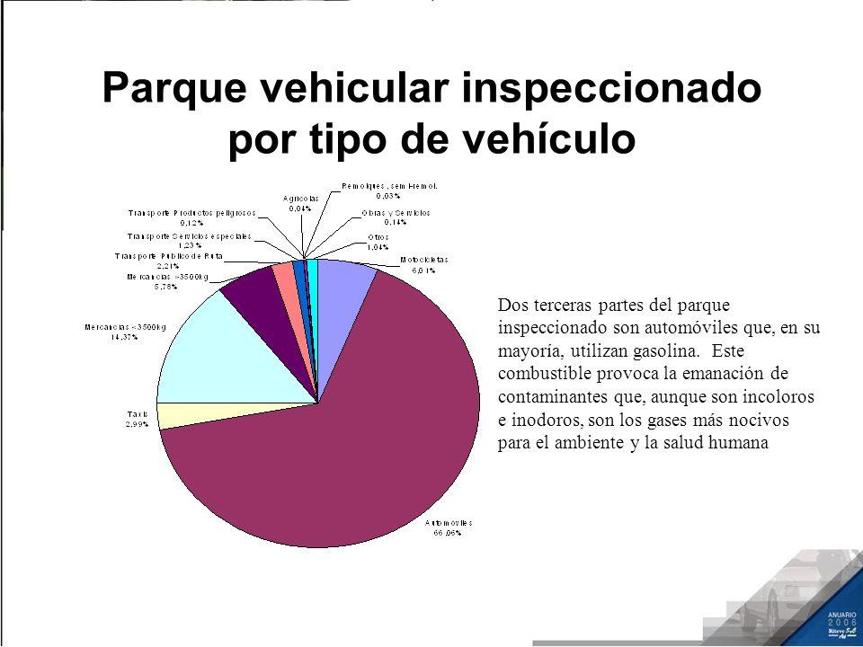 Parque vehicular inspeccionado por tipo de vehículo