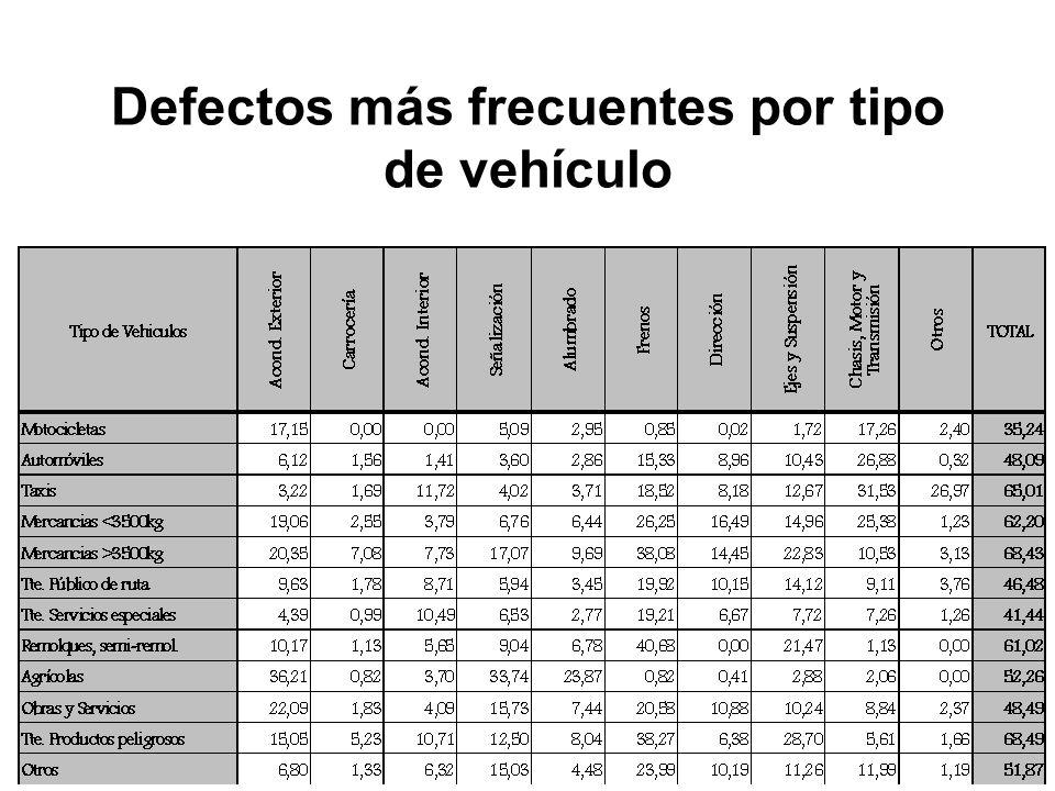 Defectos más frecuentes por tipo de vehículo