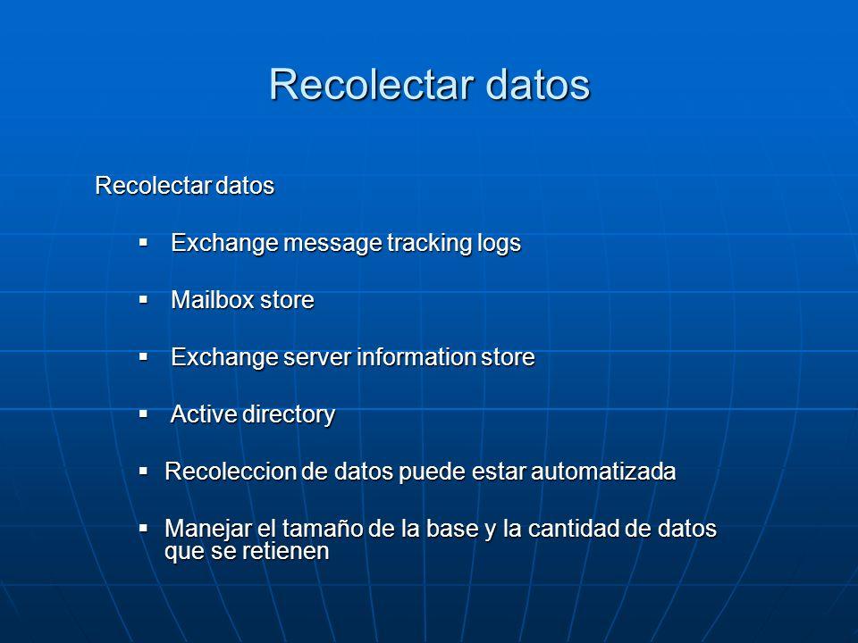 Recolectar datos Recolectar datos Exchange message tracking logs