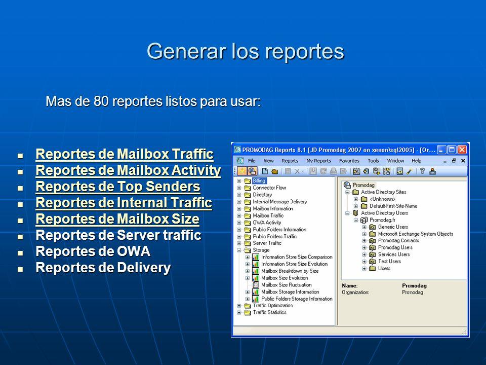 Generar los reportes Mas de 80 reportes listos para usar: