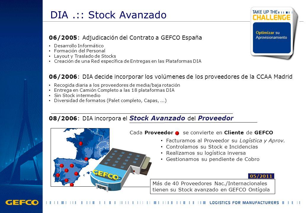 DIA .:: Stock Avanzado 06/2005: Adjudicación del Contrato a GEFCO España. Desarrollo Informático. Formación del Personal.