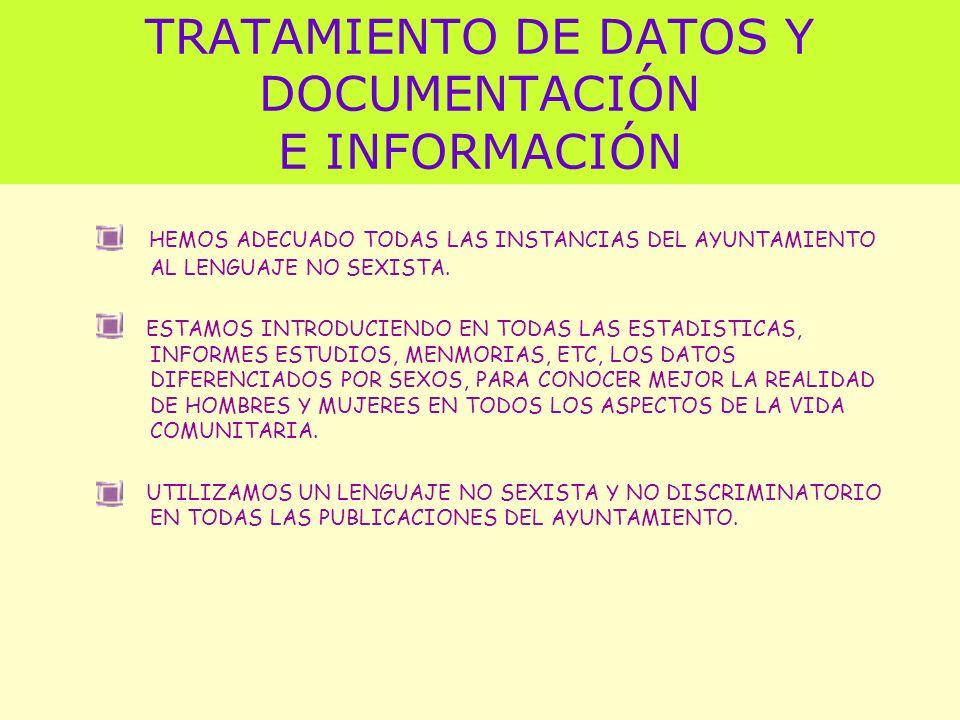 TRATAMIENTO DE DATOS Y DOCUMENTACIÓN E INFORMACIÓN