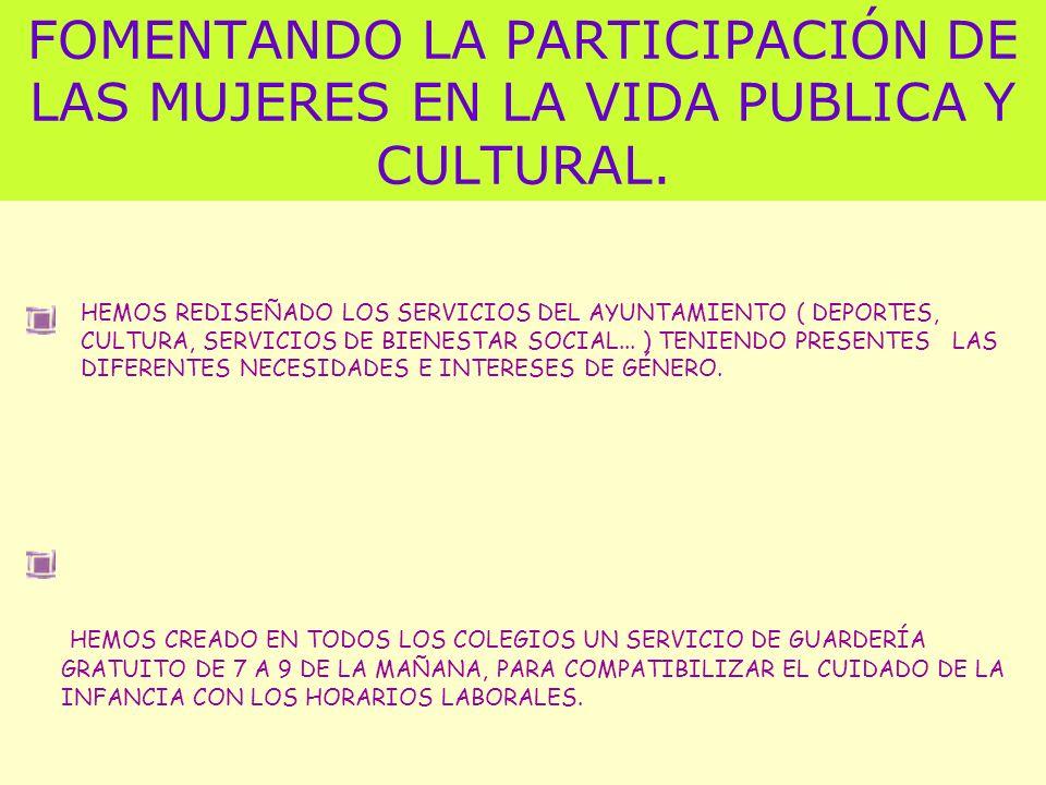 FOMENTANDO LA PARTICIPACIÓN DE LAS MUJERES EN LA VIDA PUBLICA Y CULTURAL.