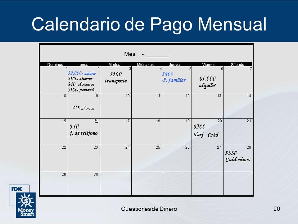 Calendario de Pago Mensual