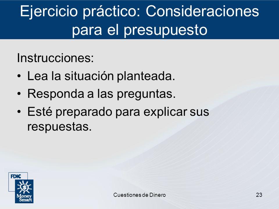 Ejercicio práctico: Consideraciones para el presupuesto