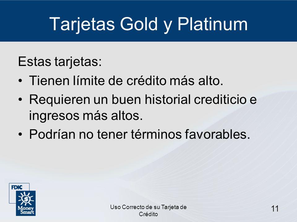 Tarjetas Gold y Platinum