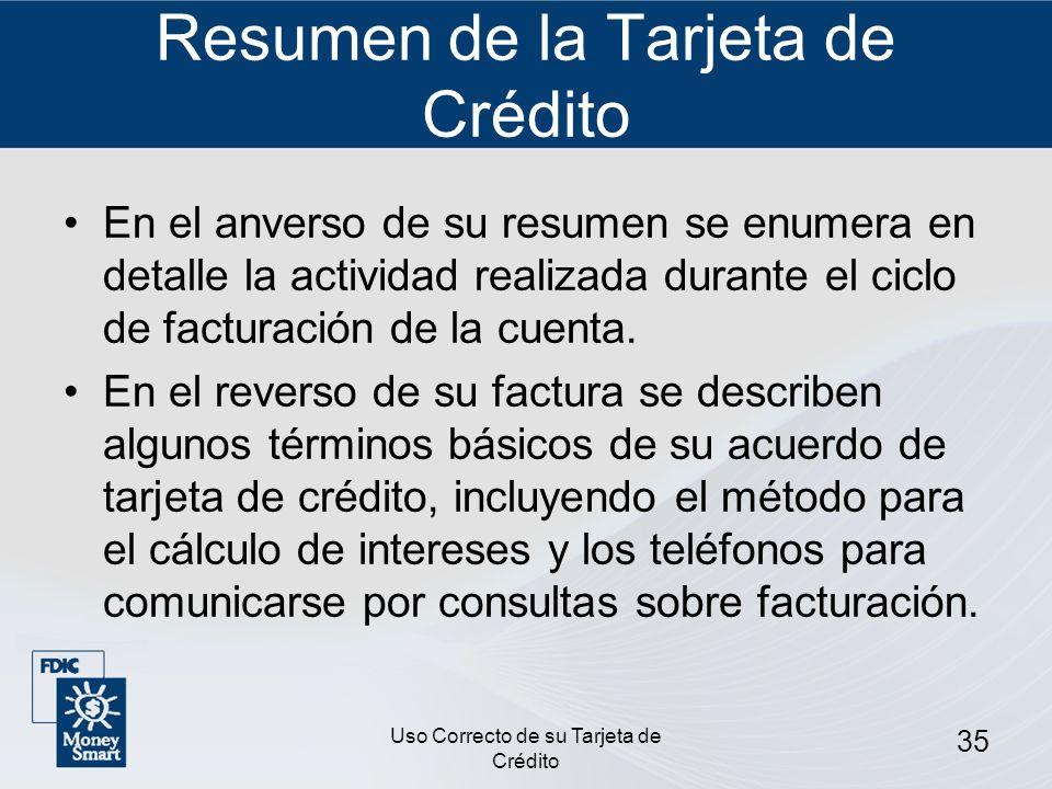 Resumen de la Tarjeta de Crédito