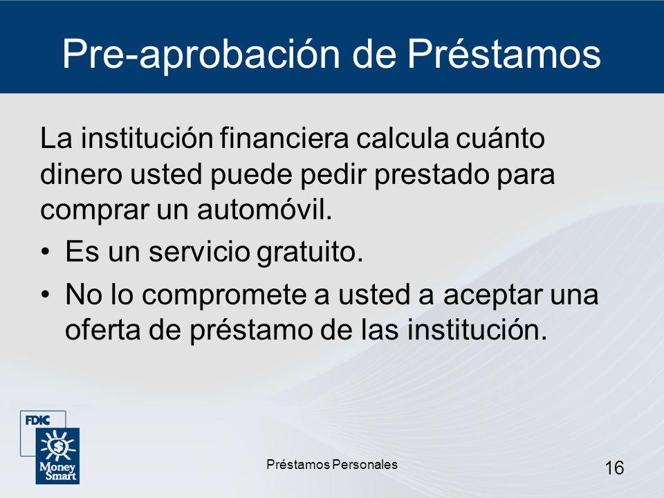 Pre-aprobación de Préstamos