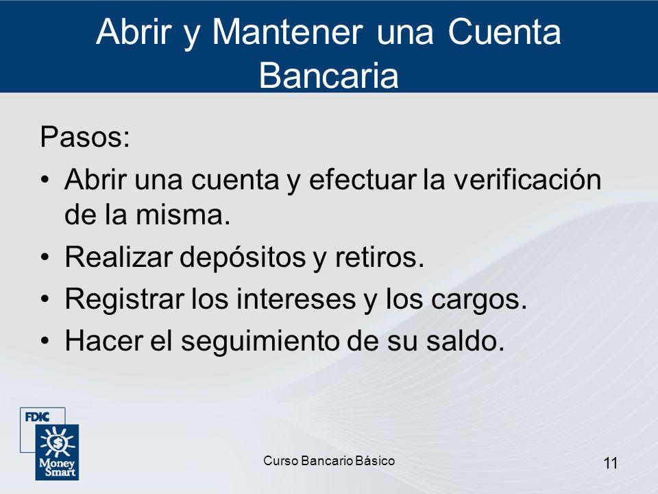 Abrir y Mantener una Cuenta Bancaria