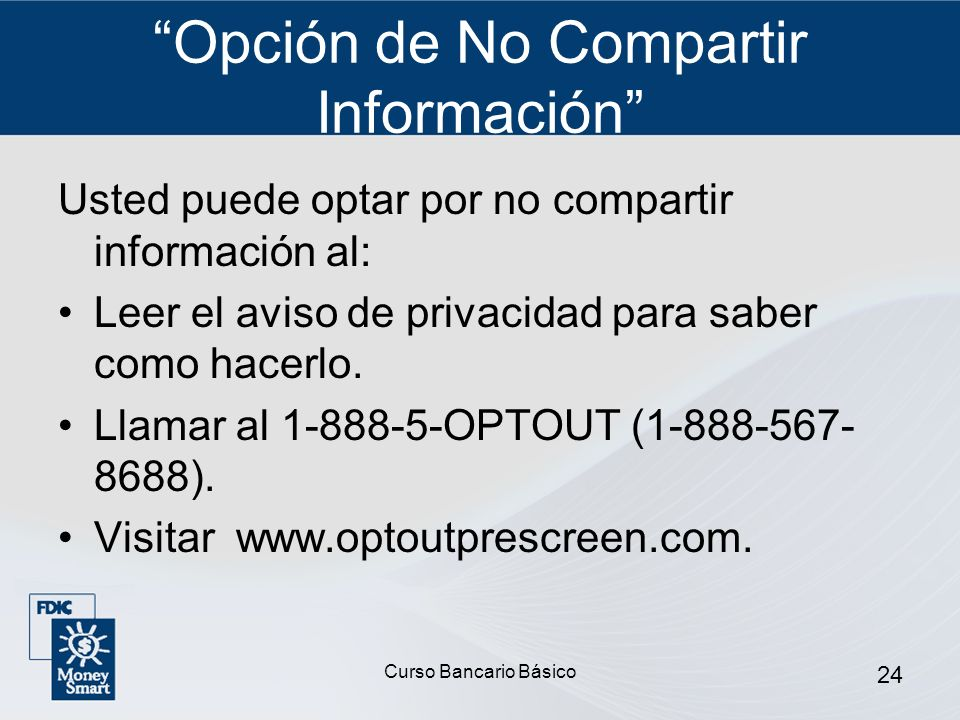 Opción de No Compartir Información