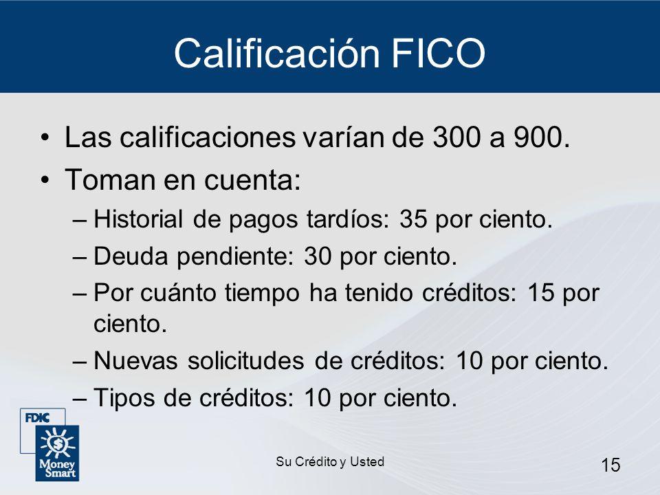 Calificación FICO Las calificaciones varían de 300 a 900.