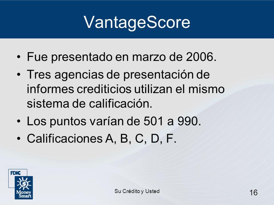 VantageScore Fue presentado en marzo de 2006.