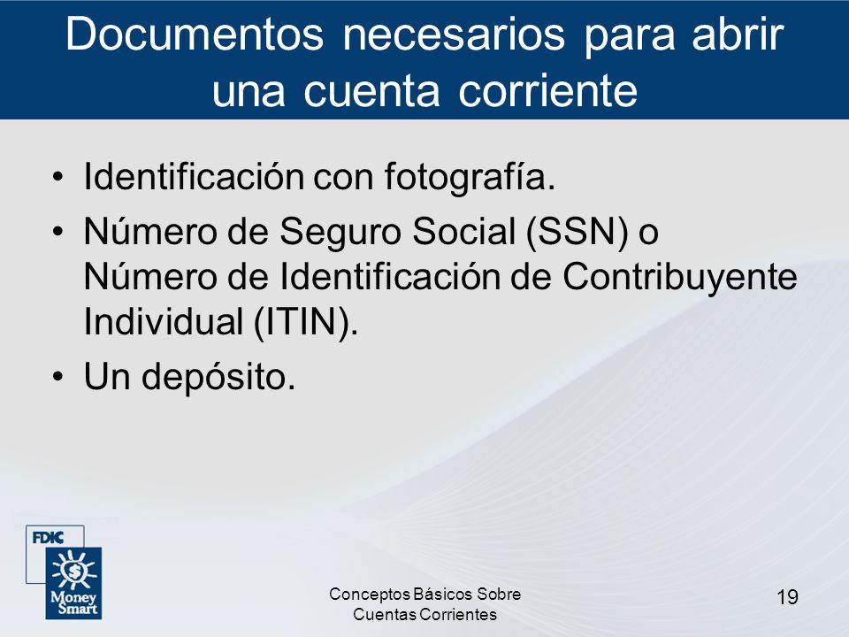 Documentos necesarios para abrir una cuenta corriente