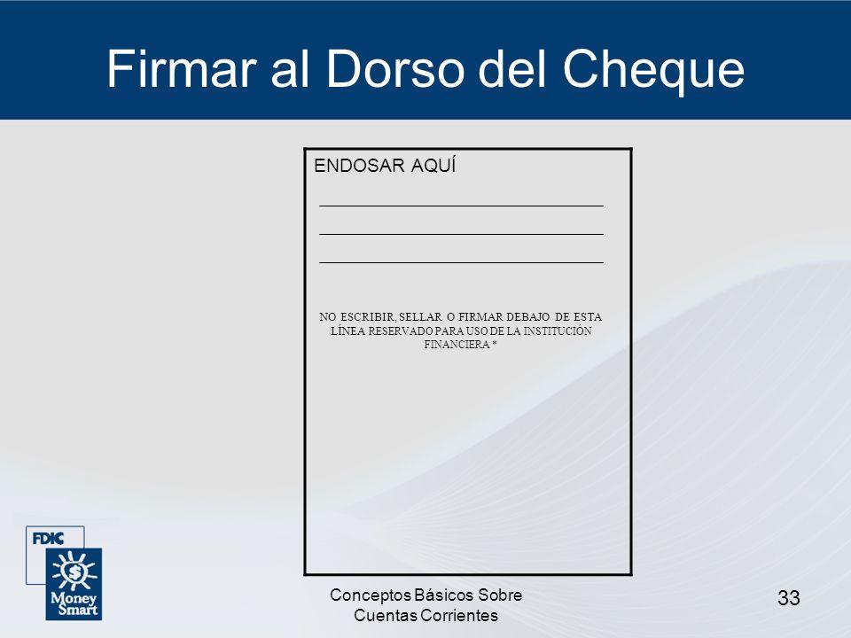 Firmar al Dorso del Cheque