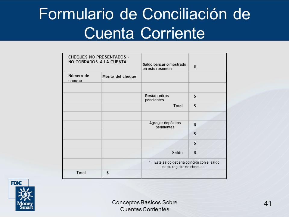 Formulario de Conciliación de Cuenta Corriente