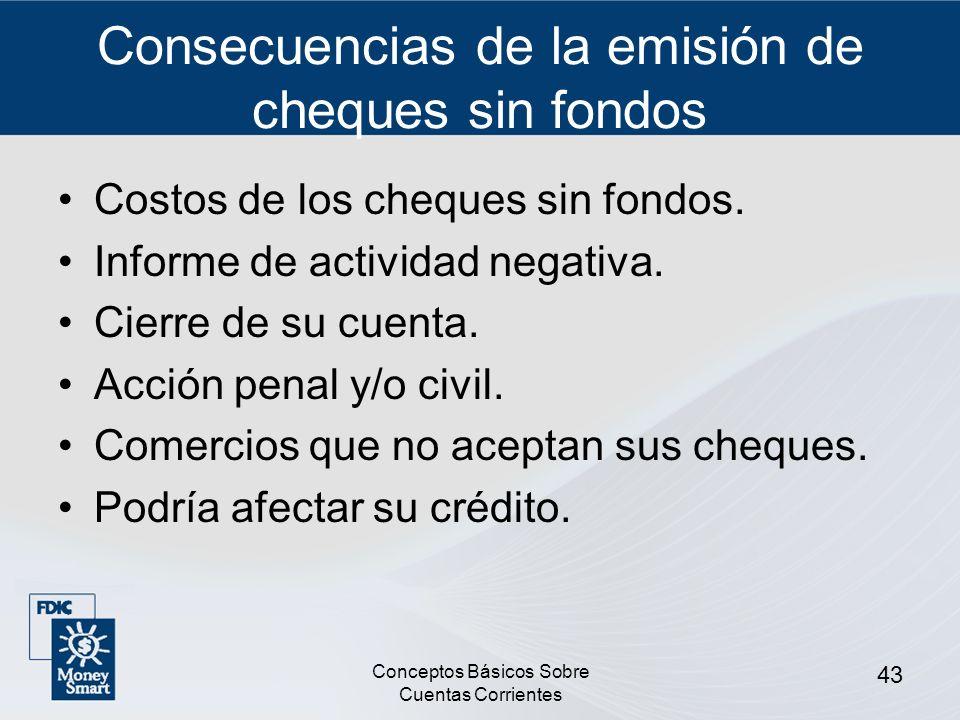 Consecuencias de la emisión de cheques sin fondos