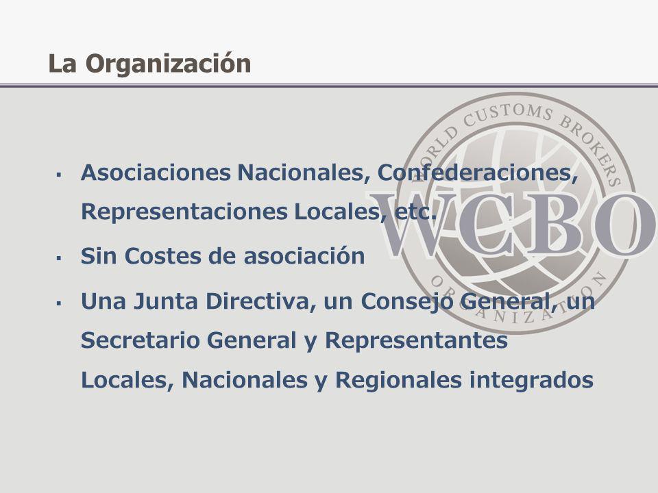 La OrganizaciónAsociaciones Nacionales, Confederaciones, Representaciones Locales, etc. Sin Costes de asociación.