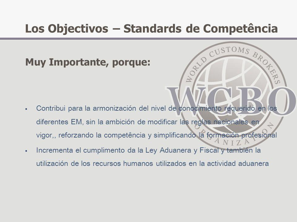 Los Objectivos – Standards de Competência