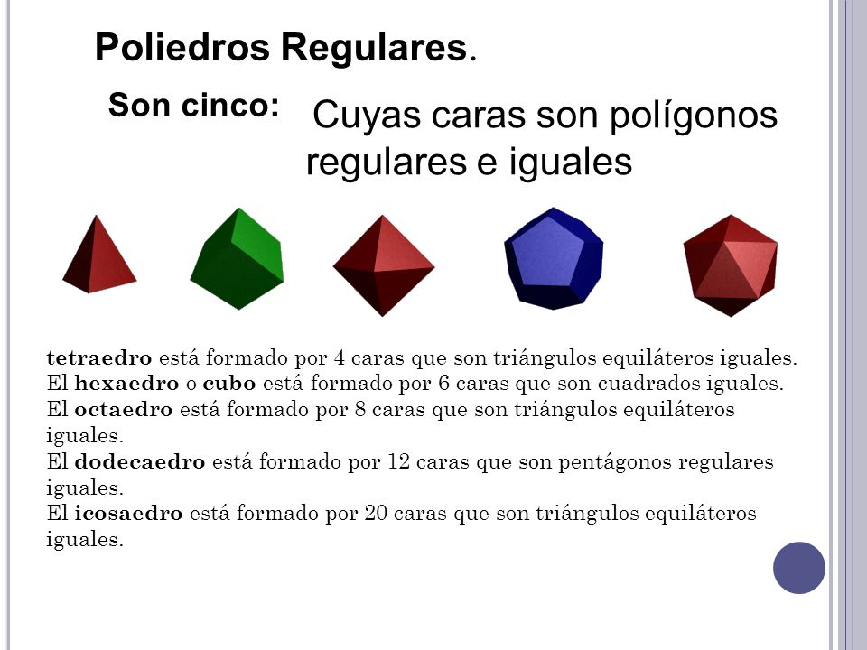 Poliedros Regulares. Son cinco: