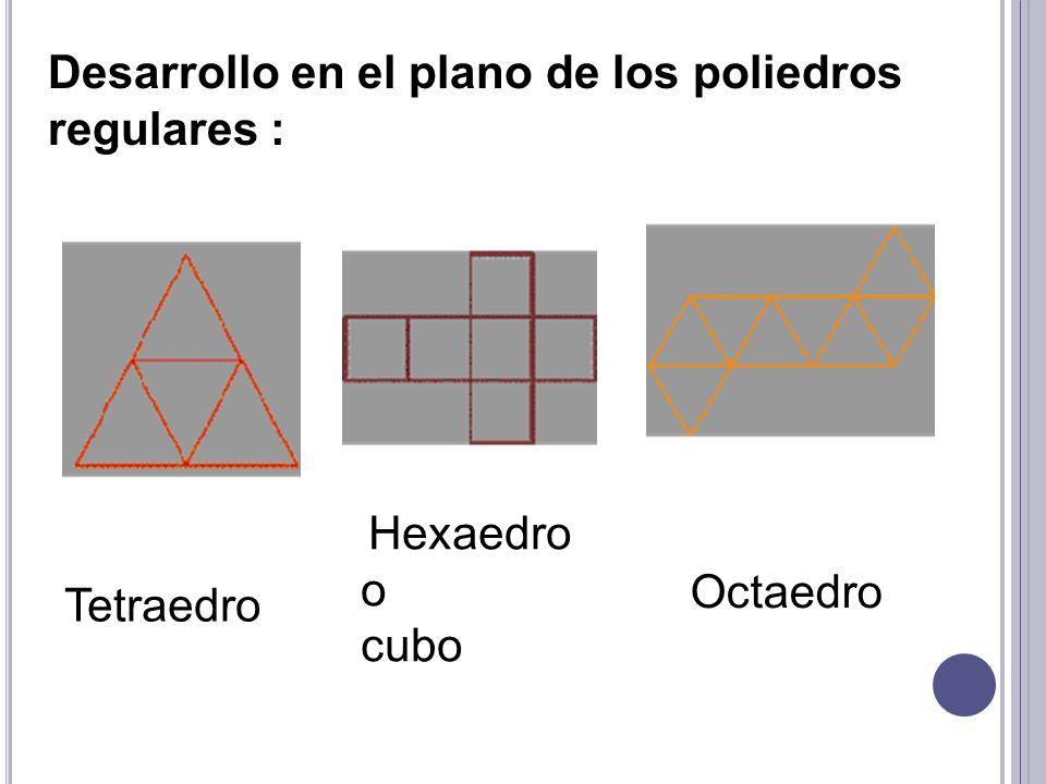 Desarrollo en el plano de los poliedros regulares :