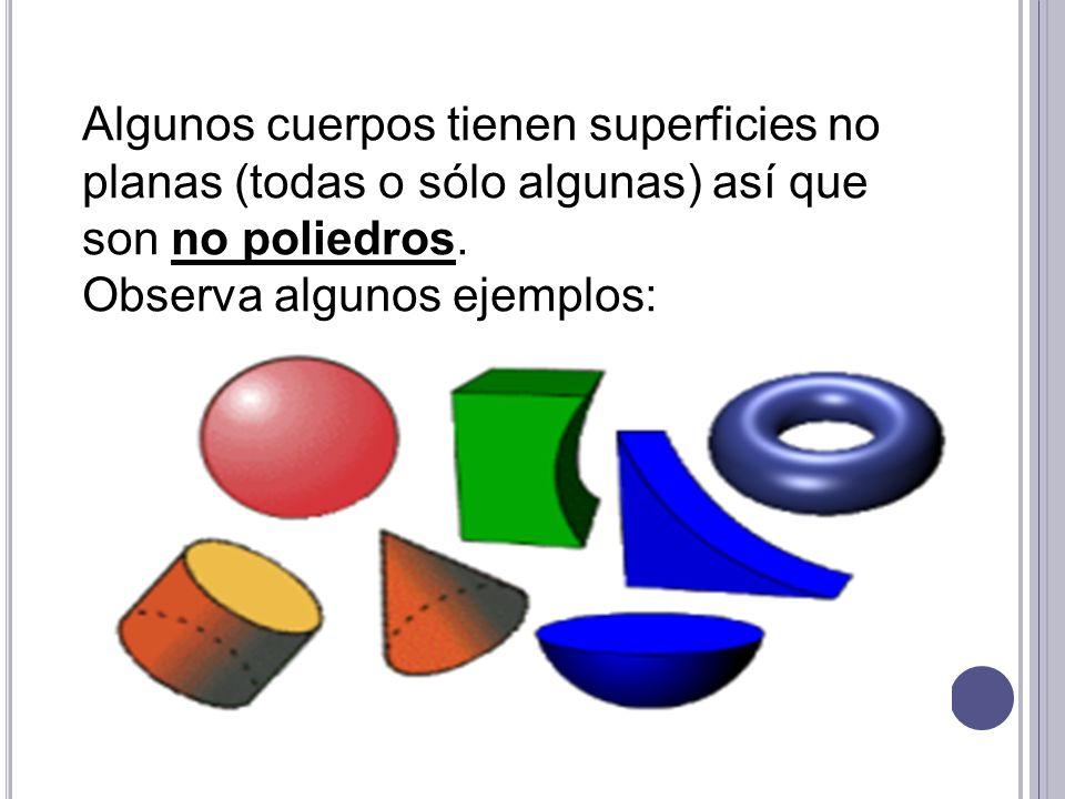 Algunos cuerpos tienen superficies no planas (todas o sólo algunas) así que son no poliedros. Observa algunos ejemplos: