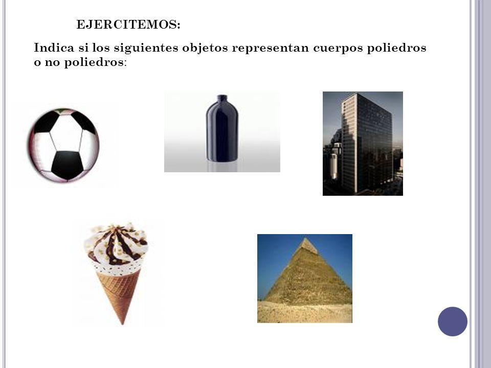 EJERCITEMOS: Indica si los siguientes objetos representan cuerpos poliedros o no poliedros: