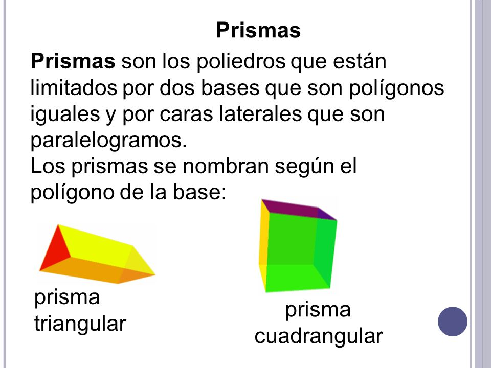 Los prismas se nombran según el polígono de la base: