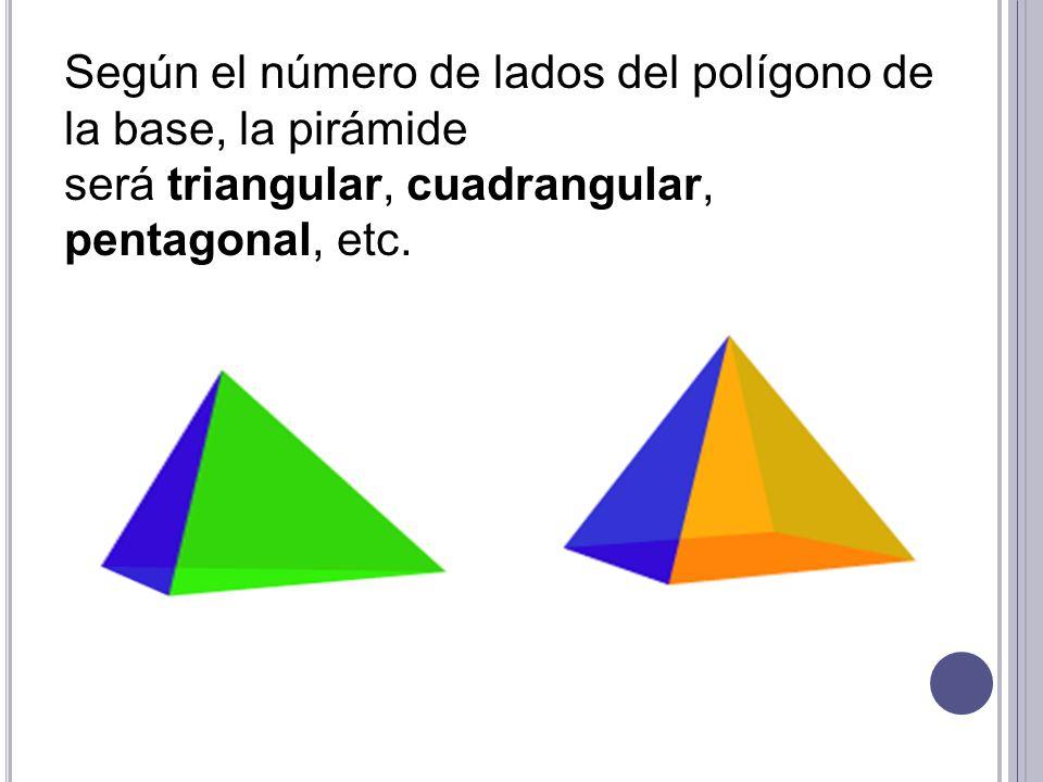 Según el número de lados del polígono de la base, la pirámide será triangular, cuadrangular,