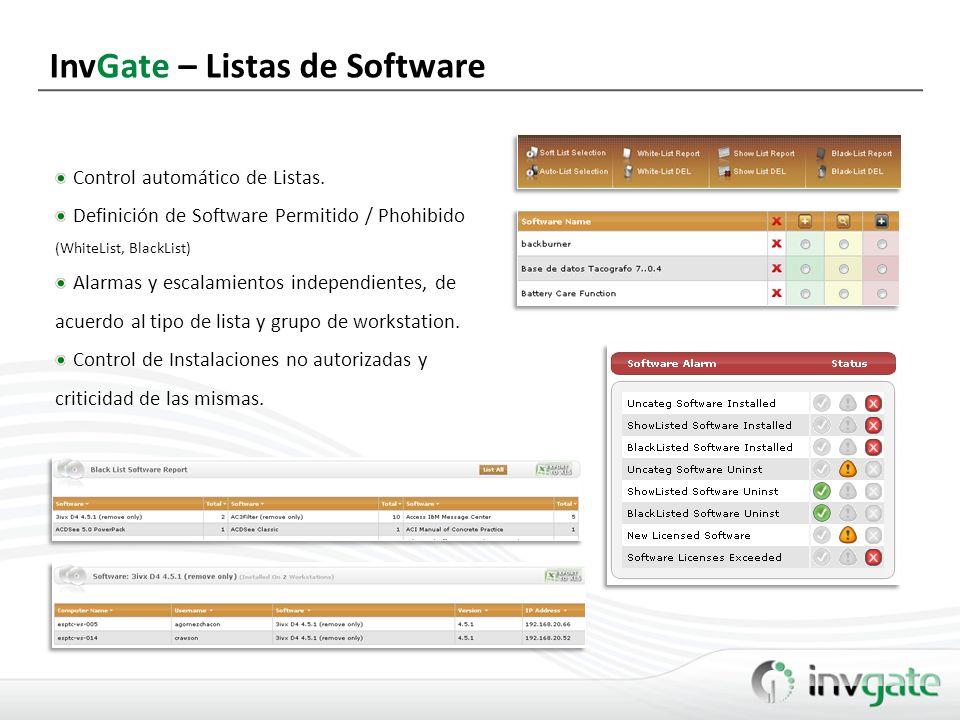 InvGate – Listas de Software