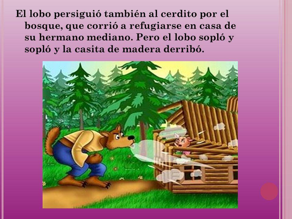 El lobo persiguió también al cerdito por el bosque, que corrió a refugiarse en casa de su hermano mediano.