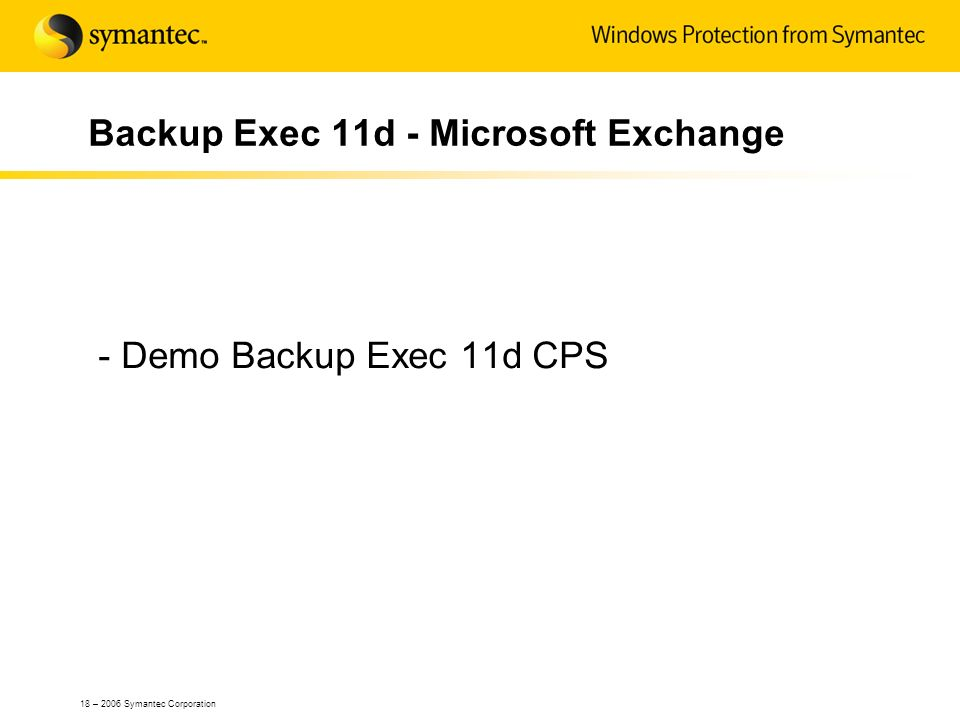 Backup Exec 11d - Microsoft Exchange