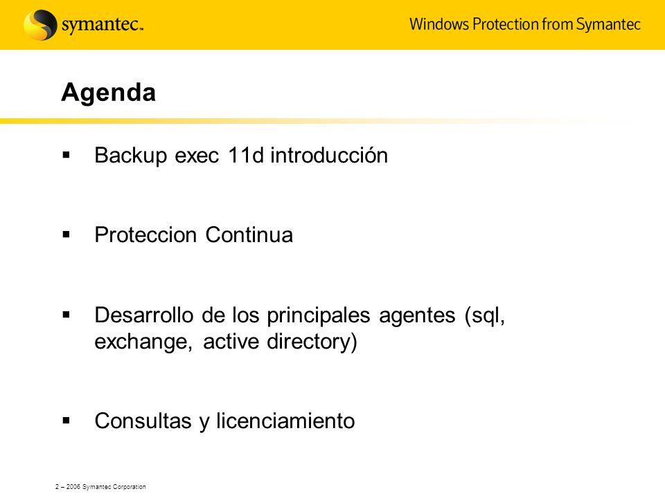 Agenda Backup exec 11d introducción Proteccion Continua