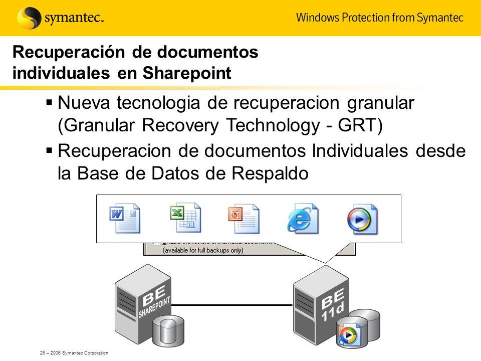 Recuperación de documentos individuales en Sharepoint